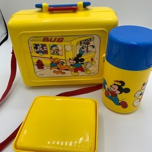 Vintage Yellow Walt Disney Mickey Mouse Lunch Box